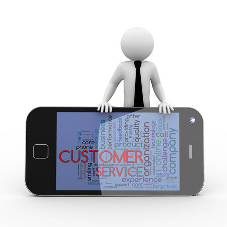 3d rendering of business person with smart phone mobile device showing wordcloud word tags of customer service. 3d white people man character photo