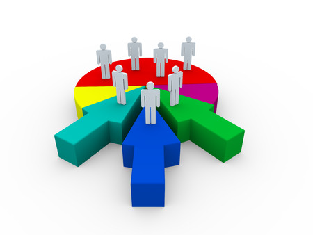 acquisitions: 3d render of people on pie chart arrow. Concept of companies and business merge and acquisitions