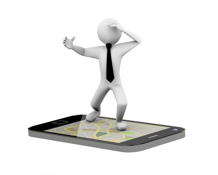 gps device: 3d rendering of business person riding on smart phone mobile device showing gps map. 3d white people man character