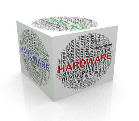 cube box: 3d rendering of cube box of wordcloud word tags of hardware