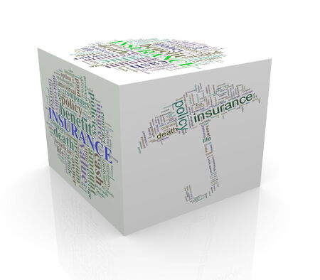 wordcloud: 3d rendering of cube box of wordcloud word tags of life insurance Stock Photo