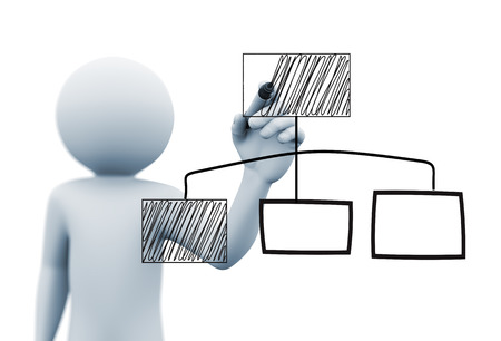 3d rendering of man drawing business organizational chart diagram with marker on transparent glass screen. 3d white people character Stockfoto