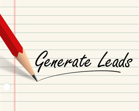 generate: Illustration of pencil and paper written with word generate leads Stock Photo