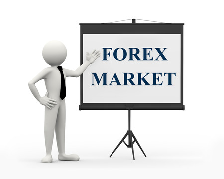 man presenting: 3d rendering of business person with tripod projector screen presenting concept of forex market. 3d white people man character Stock Photo