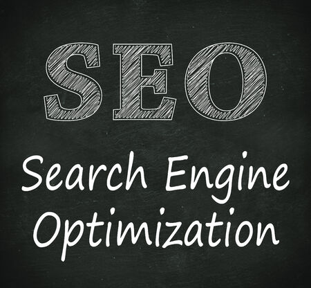 search engine optimized: Illustration design of concept of seo - search engine optimization  on black chalkboard Stock Photo