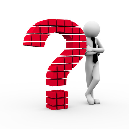 3d rendering of business persion standing with question mark symbol made of blocks cubes. 3d white people man character