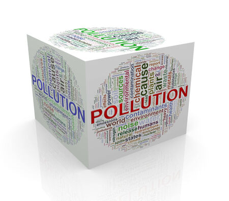 3d rendering of cube box of wordcloud word tags of pollution Stock Photo