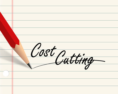 cutting costs: Illustration of pencil and paper written with word cost cutting