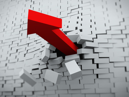 3d rendering of red powerful arrow burst breaking through brick wall photo