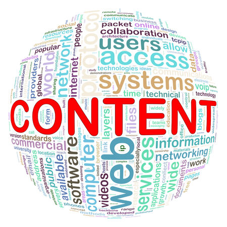 weblog: Illustration of word tags wordcloud ball sphere of content Stock Photo