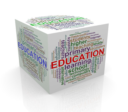 cube box: 3d rendering of cube box of wordcloud word tags of education Stock Photo