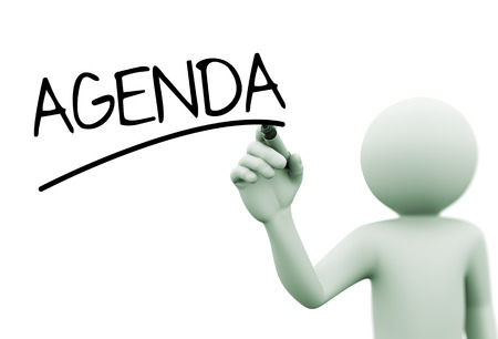 3d rendering of man writing agenda with marker on transparent glass screen. 3d white people character