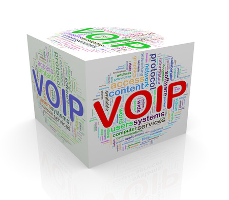 telephony: 3d rendering of cube box of wordcloud word tags of voip - voice over ip