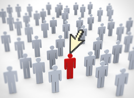 mouse cursor: 3d rendering of mouse cursor pointing to unique red person in the crowd Stock Photo