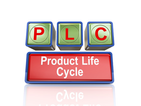 plc: 3d rendering of reflective boxes buzzword plc - product life cycle