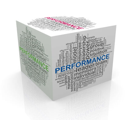 cube box: 3d rendering of cube box of wordcloud word tags of performance Stock Photo
