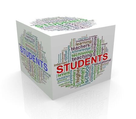 cube box: 3d rendering of cube box of wordcloud word tags of student