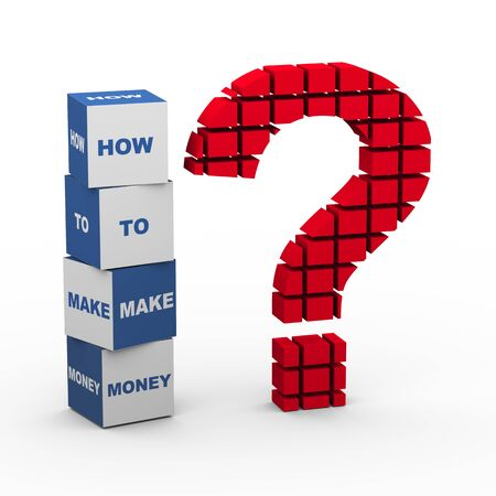 3d rendering of block question mark and text boxes how to make money Reklamní fotografie - 36247724