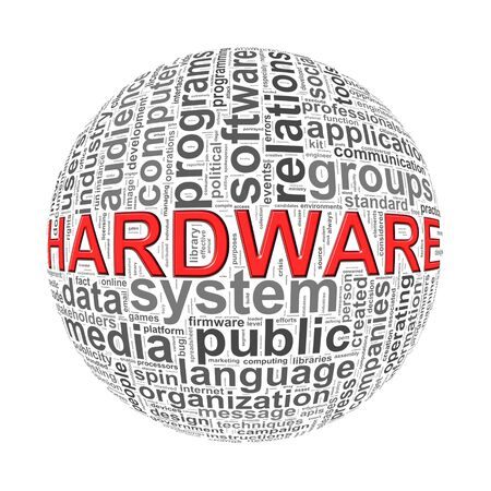 operational: Illustration of word tags wordcloud ball sphere of hardware