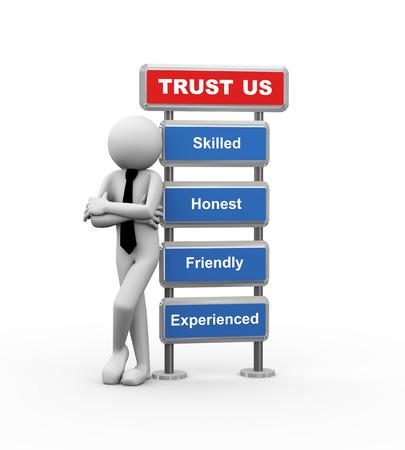 ビジネス信頼の概念を提示モダンな看板で立っているビジネス人の 3 d レンダリングします。3 d の白人男性キャラクター