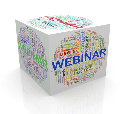 webcast: 3d rendering of cube box of wordcloud word tags of webinar Stock Photo