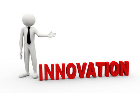 innovation word: 3d rendering of business person presentation of innovation word. 3d white people man character