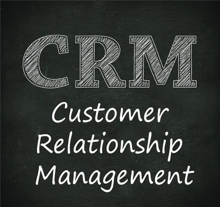 relationship management: Illustration design of concept of crm - customer relationship management on black chalkboard