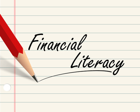 Illustration of pencil and paper written with word financial literacy