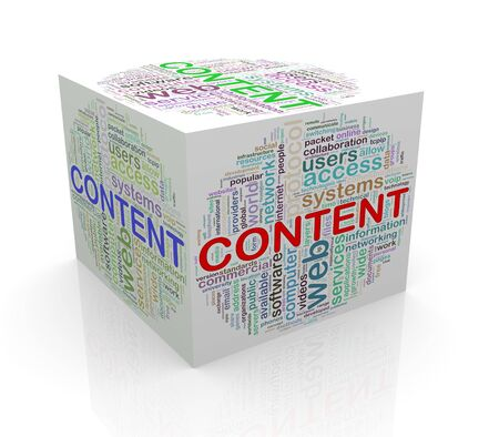 3d rendering of cube box of wordcloud word tags of content photo