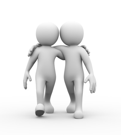 two men talking: 3d rendering of friends with hands on shoulder walking together.  Concept of friendship, help, support, love. 3d white person people man Stock Photo