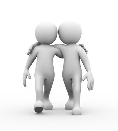 Representación 3D de amigos con las manos en los hombros caminando juntos. Concepto de la amistad, ayuda, apoyo, amor. 3d blanco, persona, gente hombre