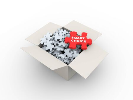 opt: 3d rendering of large red puzzle of smart choice on top of heap of puzzle pieces in the box Stock Photo