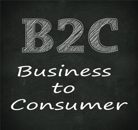 b2e: Illustration design of concept of b2c - business to consumer on black chalkboard