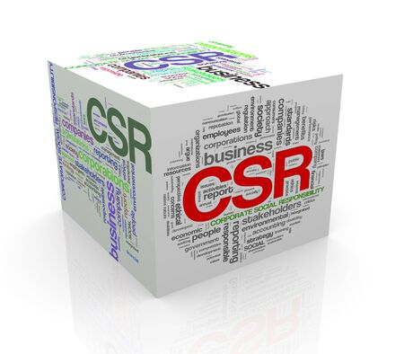 3d rendering of cube box of wordcloud word tags of  csr - corporate social responsibility photo