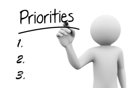 3d utylizacyjnej z priorytetów pisania człowiek z markerem na przezroczystym szklanym ekranie. Zdjęcie Seryjne