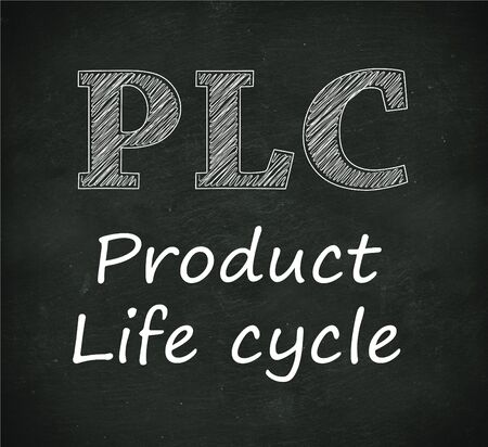 plc: Illustration design of concept of plc - product life cycle on black chalkboard