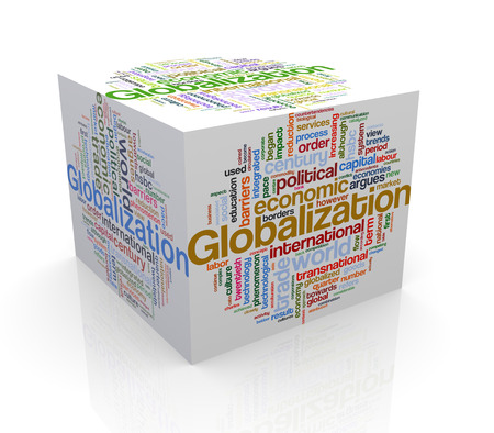 globalization: 3d rendering of cube box of wordcloud word tags of globalization