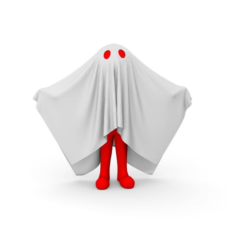 scary man: 3d rendering of red man inside ghost costume. 3d white person people man.