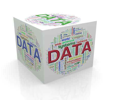 3d rendering of cube box of wordcloud word tags of data