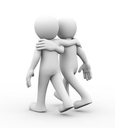 two person: 3d rendering of two friends walking together.  Concept of friendship, help, support, love. 3d white person people man