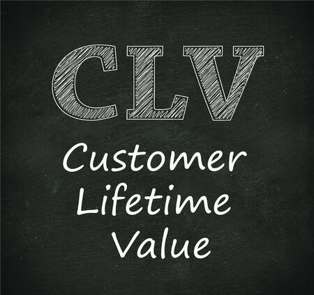 abbreviation: Illustration design of concept of clv  - customer lifetime value on black chalkboard