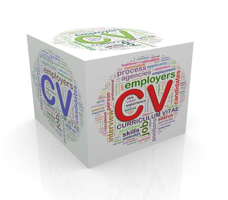 cube box: 3d rendering of cube box of wordcloud word tags of cv curriculum vitae