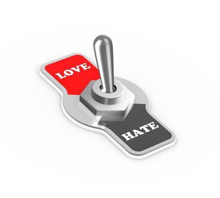 position d amour: Rendu 3d d'amour haine bouton interrupteur � bascule bascul� dans la position de l'amour.