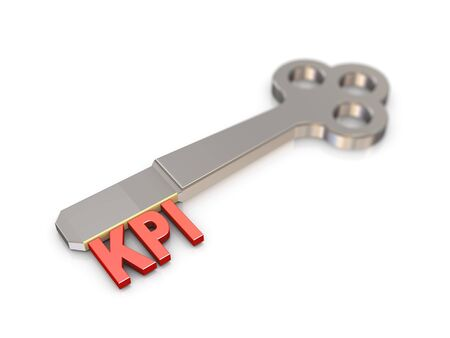 indicators: 3d rendering of chrome key with text word kpi key performance indicator