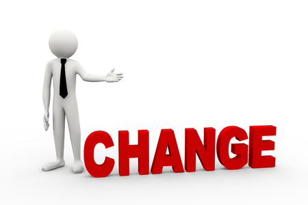 adapting: 3d rendering of business person presentation of change word. 3d white people man character