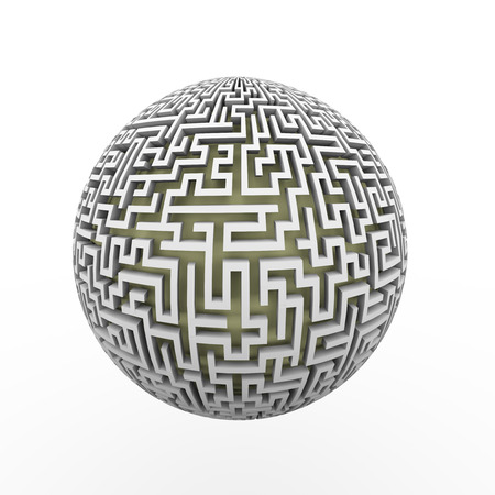 lost world: 3d rendering of endless maze sphere ball presenting labyrinth planet Stock Photo