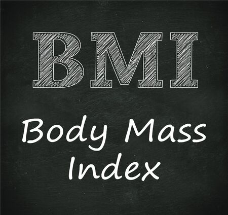 healthiness: Illustration design of concept of bmi - body mass index on black chalkboard Stock Photo