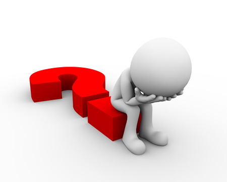 3d rendering of upset and frustrated man sitting on question mark sign. 3d white person people man