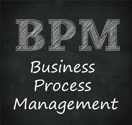 bpm: Illustration design of concept of  bpm - business process management on black chalkboard Stock Photo