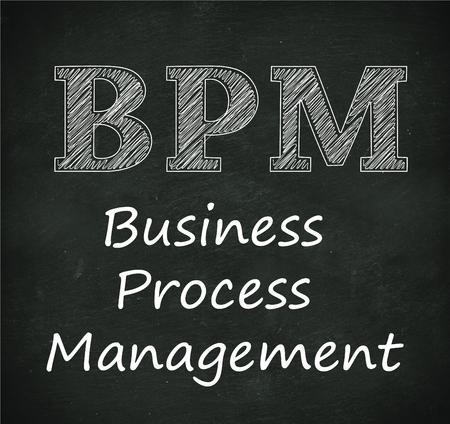 bpm: Illustration design of concept of  bpm - business process management on black chalkboard Stock Photo